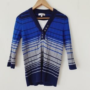 Tradition Size Medium Blue and grey V neck Sweater